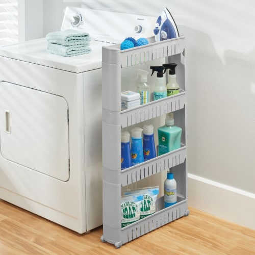 mDesign Portable Rolling Laundry Utility Cart Organizer with 4 Shelves Perspective: top