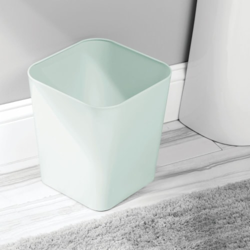 mDesign Metal Square Small Trash Can Wastebasket Garbage Bin - Mint/Light Green Perspective: top