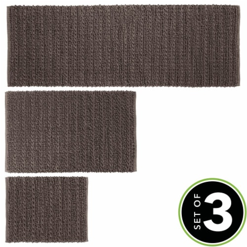 mDesign Soft Cotton Spa Mat Rug for Bathroom, Varied Sizes, Set of 3 - Brown Perspective: top