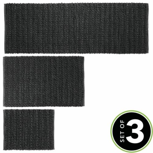 mDesign Soft Cotton Spa Mat Rug for Bathroom, Varied Sizes, Set of 3 - Black Perspective: top