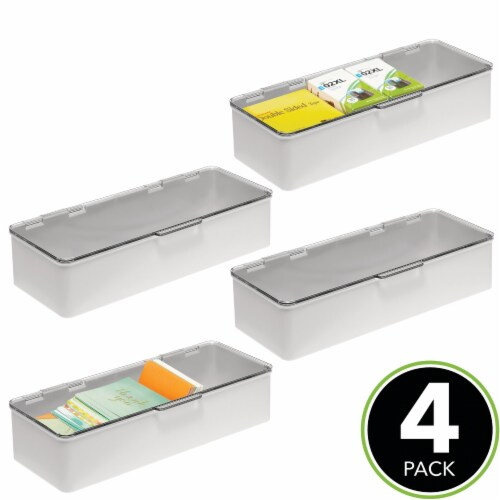 """mDesign Plastic Desk Organizer Box for Home Office, 3"""" High, 4 Pack Perspective: top"""