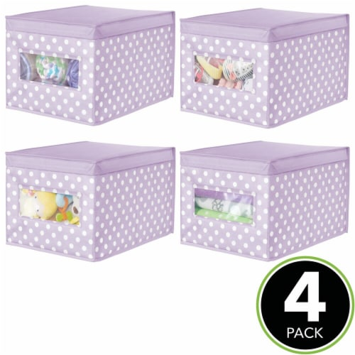 mDesign Stackable Fabric Closet Storage Organizer Box, Lid - 4 Pack Perspective: top