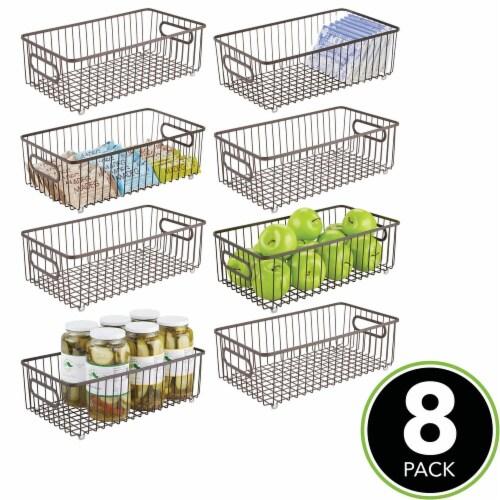 mDesign Metal Kitchen Pantry Food Storage Basket Bin, 8 Pack Perspective: top