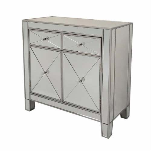 2 Door Storage Cabinet with 2 Drawers and Mirror Inserts, Gray and Silver ,Saltoro Sherpi Perspective: top