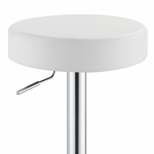 Benzara Classy Backless Adjustable Height Barstool - White Perspective: top