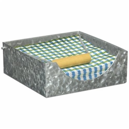 Galvanized Metal Napkin Holder with Fitted Wooden Handle, Gray ,Saltoro Sherpi Perspective: top