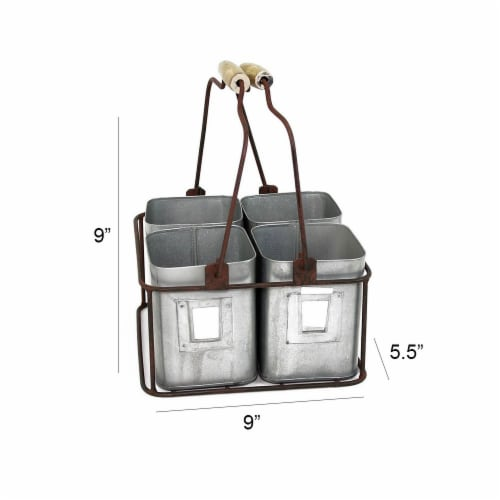 Galvanized Metal Four Tin Storage Organizer with Movable Wooden Handle,Gray , Saltoro Sherpi Perspective: top