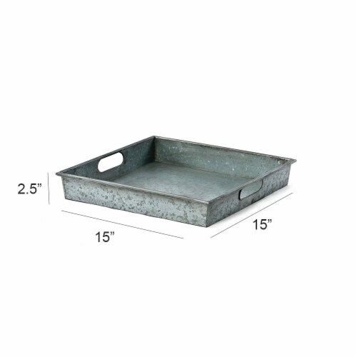 Square Galvanized Metal Tray With Handle, Gray ,Saltoro Sherpi Perspective: top