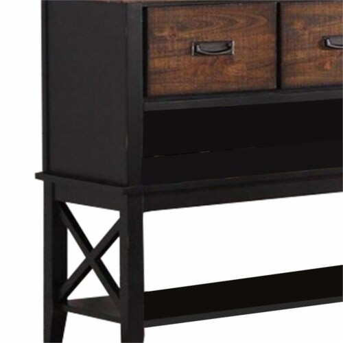 Benjara 52  Contemporary Rubber Wood Server with Spacious Storages in Brown Perspective: top
