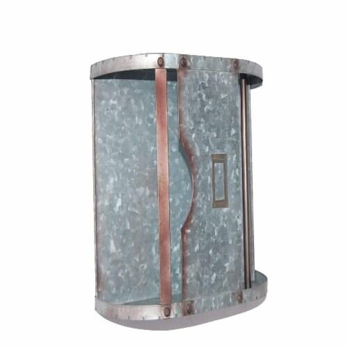Benzara Galvanized Metal Bathroom Caddy - Gray Perspective: top