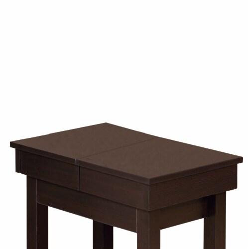 Benzara Wooden Chair Side Table - Red Cocoa Brown Perspective: top