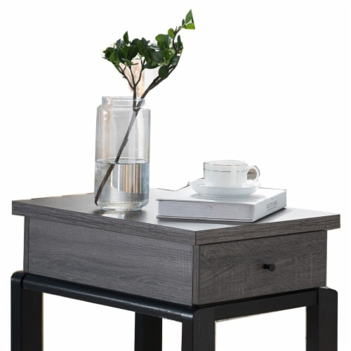 Benzara Wooden Chair Side Table with Bottom Shelf - Distressed Gray/Black Perspective: top