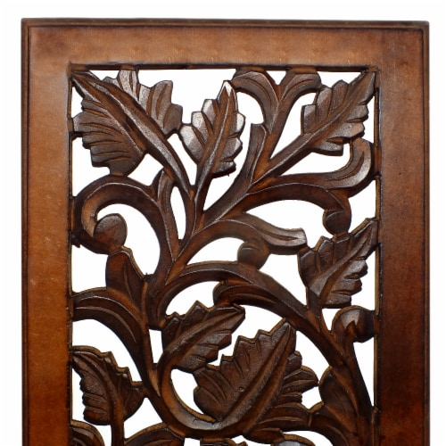 Benzara Leaves and Scrollwork Pattern Mango Wood Wall Panel - Brown Perspective: top