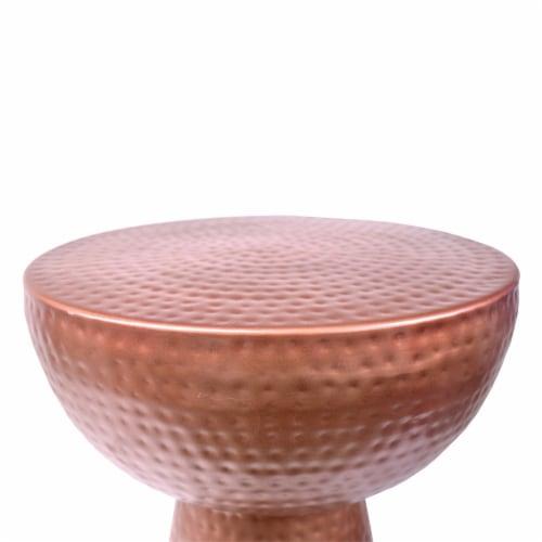 Benzara Hammered Textured Iron Stool - Copper Perspective: top