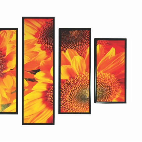 Saltoro Sherpi 5 Piece Wooden Wall Decor with Sun Flower Imprint, Yellow and Black Perspective: top