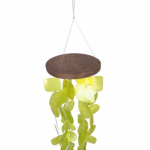 Benzara Handmade Wind Chime with Capiz Shell Hangings - Green Perspective: top