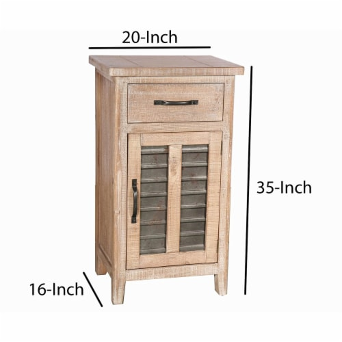 Farmhouse Storage Accent Cabinet with Drawer and Metal Insert Door, Large, Brown ,Saltoro Perspective: top