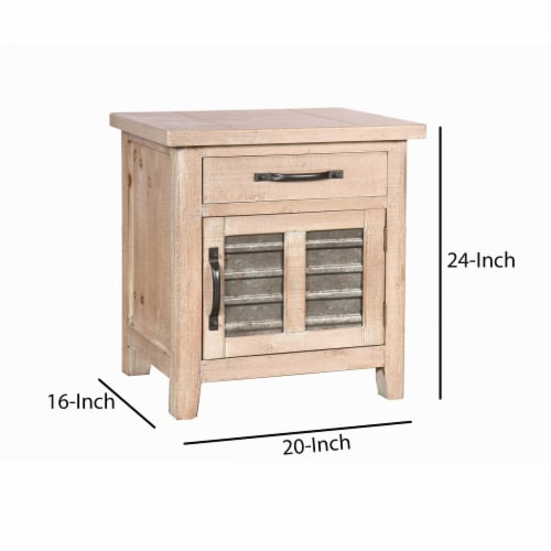 Farmhouse Storage Accent Cabinet with Drawer and Metal Insert Door, Small, Brown ,Saltoro Perspective: top