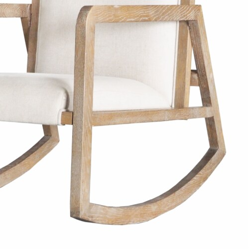 Saltoro Sherpi Fabric Upholstered Wooden Rocking Chair with Sled Base, Brown and White Perspective: top