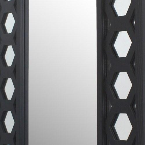 Saltoro Sherpi Rectangular Wooden Dressing Mirror with Lattice Pattern Design, Black Perspective: top