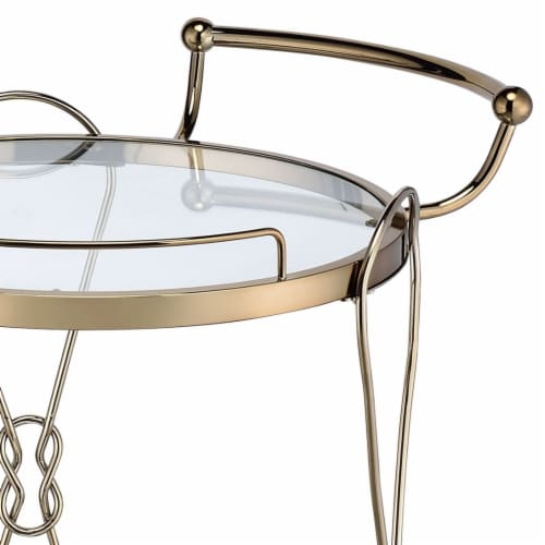 Saltoro Sherpi Serving Cart with 2 Glass Shelves and Caster Support, Gold and Clear Perspective: top