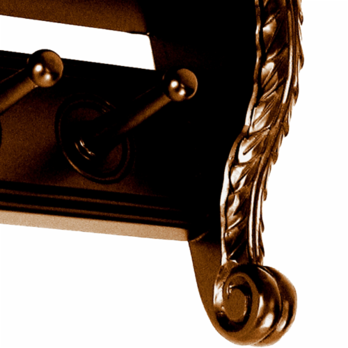 Saltoro Sherpi Hand Carved Wooden Philip Hanger with 5 Wall Mount Hooks, Brown Perspective: top