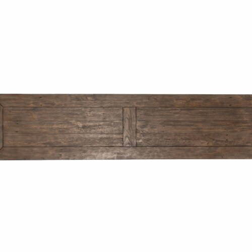 Saltoro Sherpi 66 Inch Plank Top Wooden Bench with Pedestal Base, Brown Perspective: top