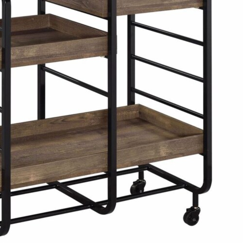Saltoro Sherpi Metal Frame Serving Cart with 3 Open Storage and Casters, Brown and Black Perspective: top