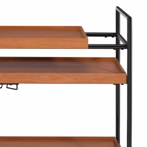 Saltoro Sherpi Metal Frame Serving Cart with Adjustable Compartments, Oak Brown and Black Perspective: top