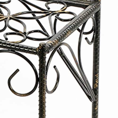 Saltoro Sherpi Scrolled Metal Frame Plant Stand with Square Top, Medium, Black Perspective: top