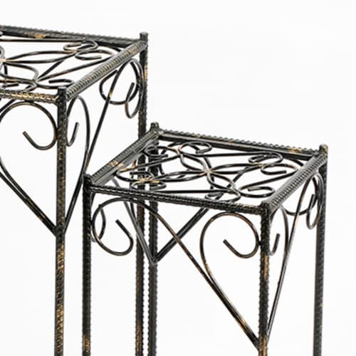 Saltoro Sherpi Scrolled Metal Frame Plant Stand with Square Top, Set of 2, Black Perspective: top