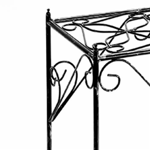 Saltoro Sherpi Lattice Cut Square Top Plant Stand with Tubular Legs, Large, Black Perspective: top