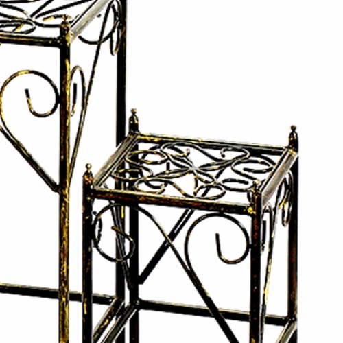 Saltoro Sherpi Lattice Cut Square Top Plant Stand with Tubular Legs, Set of 3, Black Perspective: top