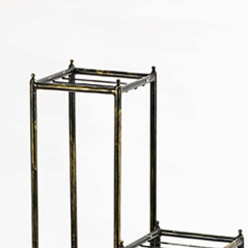 Saltoro Sherpi 2 Tier Square Slatted Top Plant Stand, Set of 3, Black and Gold Perspective: top