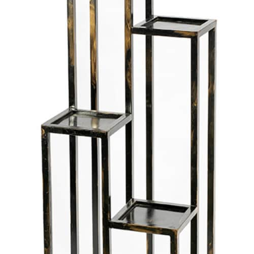Saltoro Sherpi 4 Tier Cast Iron Frame Plant Stand with Tubular Legs, Black and Gold Perspective: top