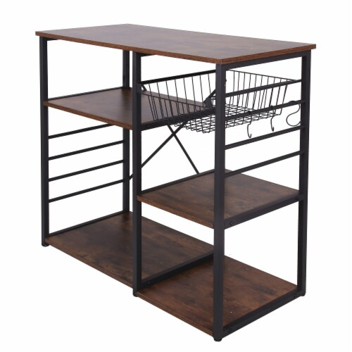 Saltoro Sherpi Wood and Metal Bakers Rack with 4 Shelves and Wire Basket, Brown and Black Perspective: top