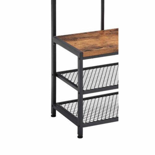 Saltoro Sherpi Wood and Metal Hall Tree with 12 Hooks and 3 Open Shelves, Brown and Black Perspective: top