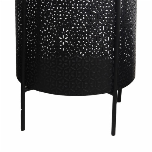 Saltoro Sherpi Metal Planters with Floral Hexagon Cut Out Design, Set of 3, Black Perspective: top