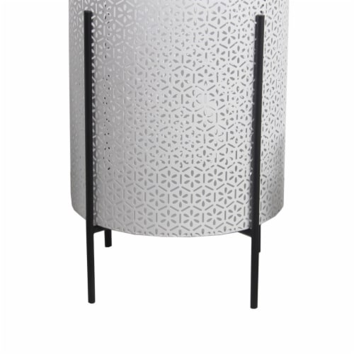 Saltoro Sherpi Metal Planters with Floral Hexagon Cut Out Design, Set of 3,White and Black Perspective: top