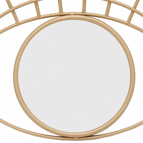 Saltoro Sherpi 32 Inch Contemporary Eye Design Metal Wall Decor with Round Mirror,Gold and Perspective: top