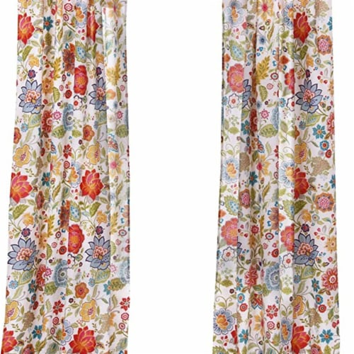 Saltoro Sherpi 4 Piece Polyester Window Panel Set with Floral Print, Large, Multicolor Perspective: top