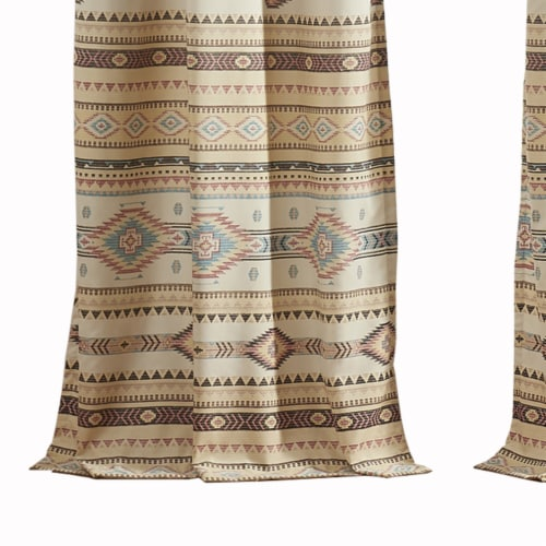 Saltoro Sherpi Polyester Panel Pair with Kilim Pattern and 2 Tie Backs, Multicolor Perspective: top