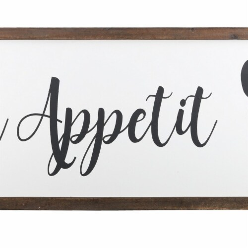 Saltoro Sherpi Wooden Wall Art with Bon Appetit Typography, Set of 2, Brown and White Perspective: top