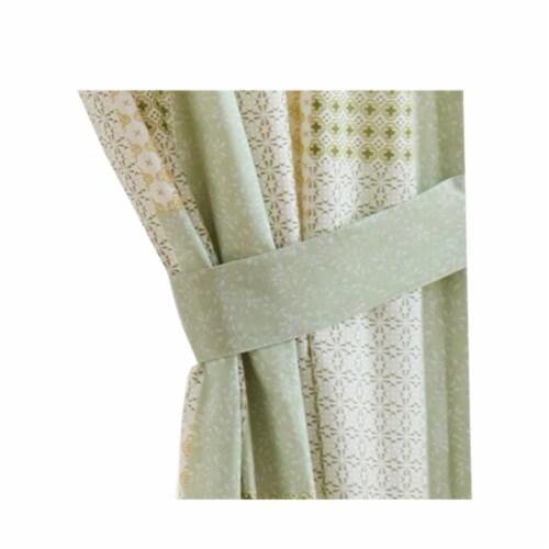 Saltoro Sherpi Fabric Panel Curtains with Geometric Pattern Motifs, Set of 4, Green Perspective: top