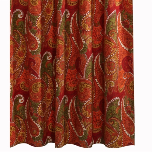 Saltoro Sherpi 72 x 72 Polyester Shower Curtain with Paisley Print, Cinnamon Red Perspective: top