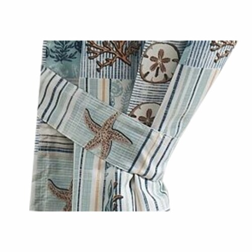 Saltoro Sherpi Sea Life Print Curtain Panel with Tie Backs, Set of 4, Blue and Brown Perspective: top