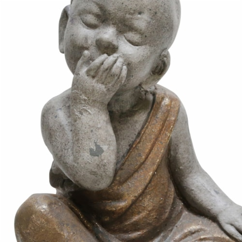 Saltoro Sherpi Polyresin Baby Monk Figurine with Covered Mouth, Weathered Gray Perspective: top