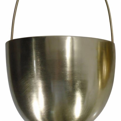 Saltoro Sherpi Oval Shape Metal Wall Planter with Attached Hanger, Set of 2, Gold Perspective: top