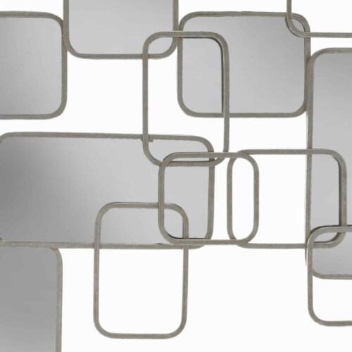 Saltoro Sherpi Rectangular Shaped Metal Mirrored Wall Decor with Curved Edges, Silver Perspective: top