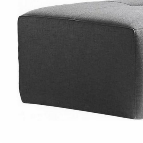 Saltoro Sherpi Fabric Upholstered Rectangular Ottoman with Button Tufting, Large, Gray Perspective: top